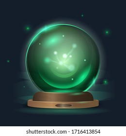 Magic crystal ball in a mystical emerald radiance. Graphic illustration of magical prediction, mystery, good luck, emerald green symbol of the incomprehensible, art concept of secrets