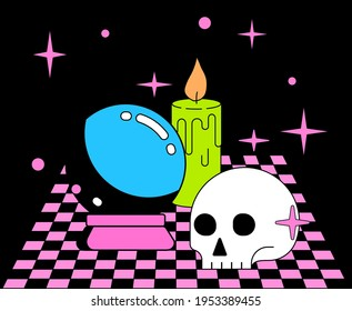 Magic Crystal Ball and Skull on a checkered table. Flat cartoon style vector illustration.