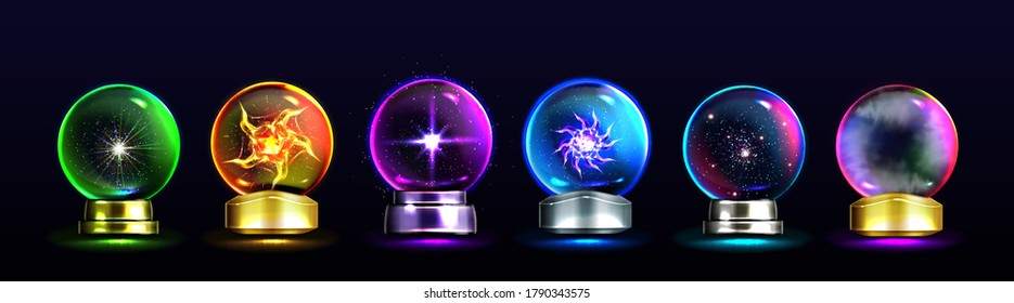 Magic crystal balls for fortune telling and future prediction, glowing glass orbs with plasma and mystical fog inside, isolated fantasy globes for clairvoyant witchcraft, Realistic 3d vector icons