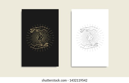 Magic crystal and hand gold logo, spiritual guidance tarot reader Colorful design. illustration.