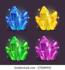 Magic crystals, blue, yellow, green, purple colors