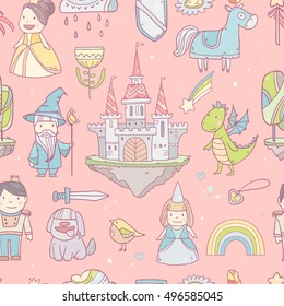 Magic cute baby vector seamless pattern for girls with fairy castle, dragon, colorful rainbow, princess and other fairy elements and characters