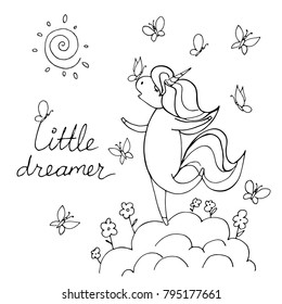 Magic cute unicorn on the cloud with butterfly isolated on white. Litlle dreamer. Hand drawn vector illustration. Perfect for print, coloring book, greeting card.
