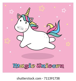 Magic cute unicorn. Poster, greeting card, vector illustration with outline.