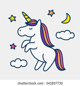 Magic cute unicorn, stars, clouds and moon poster, greeting card, vector illustration with outline