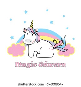 Magic cute unicorn, stars and rainbow. Poster, greeting card, vector illustration with outline.
