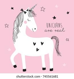 magic cute unicorn vector illustration