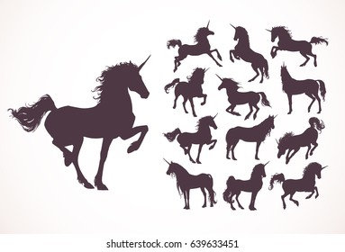 Magic Cute unicorns silhouettes. Stylish icons,vintage, background, horses tattoo. Hand drawn vector illustration, outline black on white, isolated different unicorn body collection