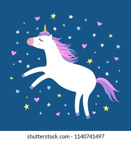 Magic cute white unicorn flying in the sky with stars and hearts on blue background. Cartoon style beautiful unicorn for kids stuff, posters, cards etc. Vector illustration