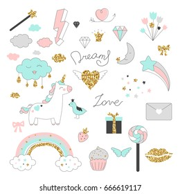 Magic design set with unicorn, rainbow, hearts, clouds and others elements. With golden glitter texture. Vector illustration