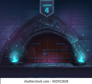 Magic door in the next 4th level. For web, video games, user interface, design.