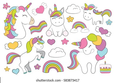 Magic elements.22 elements with 5 unicorns, 1 cake, 2 clouds, 3 rainbows, 5 hearts, 2 stars and 4 flowers. Best Choice for cards, invitations, printing, paper craft, party invitations, scrapbooking!