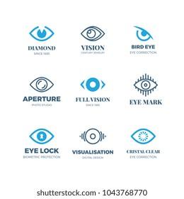 Magic eye logos. Mysterious sight symbols. Vision vector badges. Illustration of eye logo concept, emblem mystical look and seeing