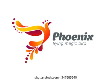 Magic Fairy Bird Abstract Logo design vector template. Flying Phoenix creative Logotype icon.