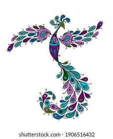 Magic Fairy Bird. Phoenix Bird. Mythical character. Ornamental Silhouette for your design. Vector illustration