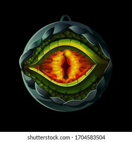 Magic, fairy medallion with dragon or lizard eye inside. Vector illustration for game design. Medieval age style game icon, item isolated on background.