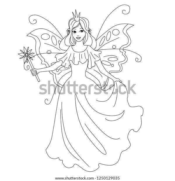 Magic Fairy Princess Isolated Illustration Vector Stock Vector ...
