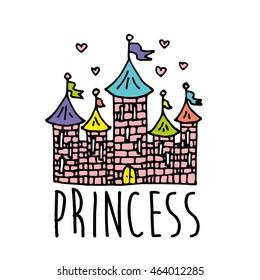 Magic Fairy Tale Princess Castle. Vector Illustration. Eps 10