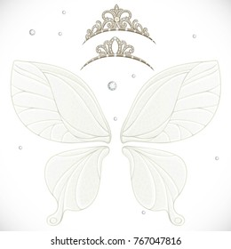 Magic fairy wings with two tiara bundled isolated on a white background