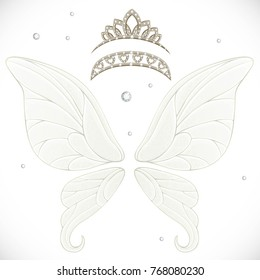 Magic fairy wings with two tiaras with hearts bundled isolated on a white background
