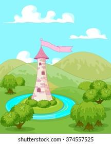 Magic fairytale tower rural landscape