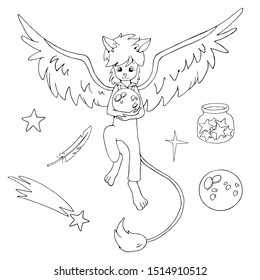 Magic fantastic anthropomorphic creature with wings and tale. Holding the moon in his hands. Set of black and white vector illustrations for coloring book.