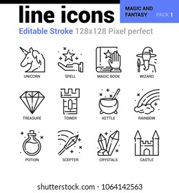 Magic and fantasy line icons set - Editable Stroke, Pixel perfect thin line vector icons for web design and website application.