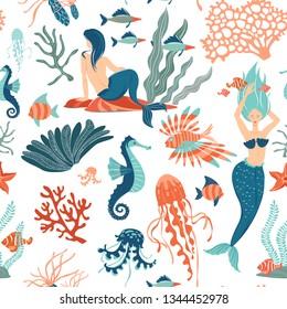 Magic fantasy Marine Life hand drawn flat vector seamless pattern background. Underwater animals and mermaids wildlife. Vector illustration. Marine Creatures cartoon clipart.