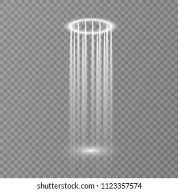 Magic fantasy portal. Futuristic teleport. Light effect. Empty light effect of the podium. Disco club dancefloor.