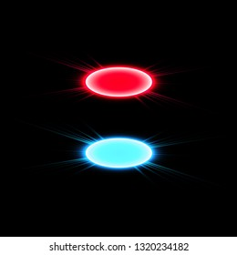 Magic fantasy portal. Futuristic teleport. Light effect. Blue and red candles rays of a night scene with sparks on a transparent background. Empty light effect of the podium. Disco club dancefloor