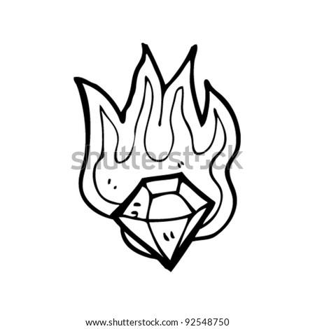 Magic Flaming Gem Cartoon Stock Vector Royalty Free 92548750