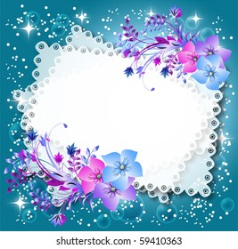 Magic floral background with stars and a place for text or photo.