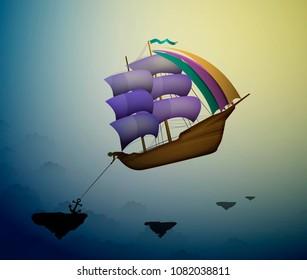 magic flying ship in the dreamland, scene from wonderland, vector