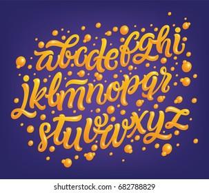 Magic font, vector illustration. Decorative 3d alphabet on violet background. Orange glossy letters.