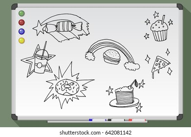 Magic food set. Hand drawn vector stock illustration. Black and white whiteboard drawing.