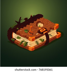 Magic forest book. Cartoon style. Game design concept. Old diary with wooden cover.