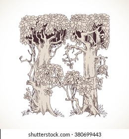 Magic forest hand drawn from trees by a vintage font - H