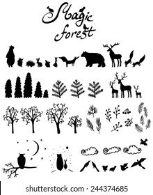 magic forest: set with silhouettes of animals