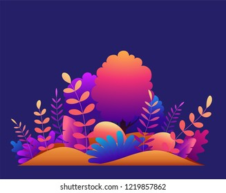Magic forest with trees, tropical and exotic plants in bright gradient colors. Modern concept vector illustration for banner or greeting card, web design.