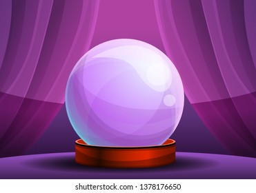 Magic fortune glass ball concept banner. Cartoon illustration of magic fortune glass ball vector concept banner for web design