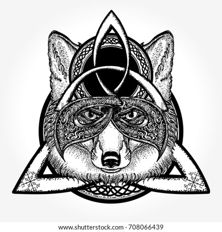 1fffe6f8 Magic Fox Tattoo Tshirt Design Celtic Stock Vector (Royalty Free ...