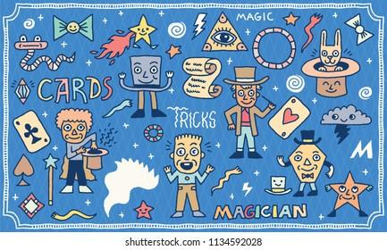 Magic Funny Wacky Doodle Set 2. Color Drawing. Vector Illustration.