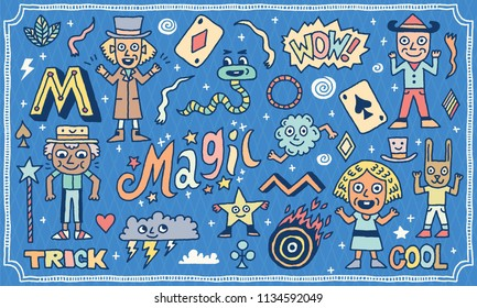 Magic Funny Wacky Doodle Set 1. Color Drawing. Vector Illustration.