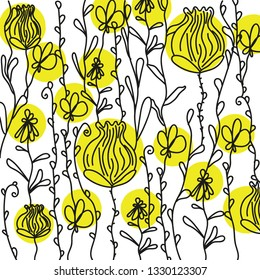 Magic garden pattern in doodle style. Floral, ornate, decorative, tribal vector design elements. Black, white and yellow background. Flovers and leaves. Zentangle coloring book page