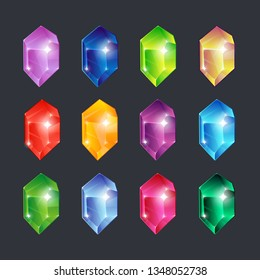 Magic gems. Gem stones jewels diamonds gemstone emerald ruby sapphire glance clear glass brilliant isolated vector cartoon icons set