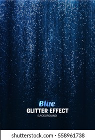 Magic Glitter Background in blue Color. Vector Poster Backdrop with Shine Elements.