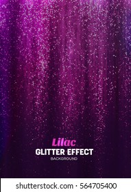 Magic Glitter Background in lilac Color. Vector Poster Backdrop with Shine Elements.