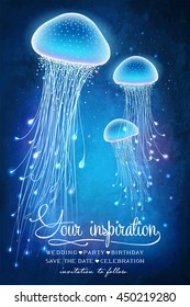 Magic glowing jellyfish underwater. Undersea world. Fairy tale illustration for inspiration