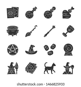 Magic glyph icons set. Witchcraft, sorcery Halloween item. Occult, gypsy mystic rituals tools. Fortune telling, divination. Superstitions & predictions. Silhouette symbol. Vector isolated illustration