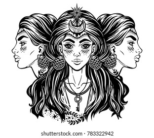 Magic godess Hecate. Triple faced beautiful woman with long hair, key and moon. Bohemian, wiccan divine girl. Fantasy, spirituality, Greek mythology, tattoo art, witchcraft. Vector illustration.